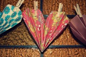 Make paper hearts for a lovely display.